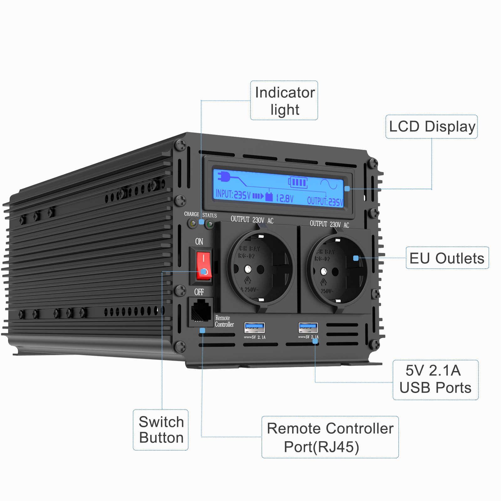 Ładowarka EDECOA UPS przetwornica napięcia 1500W 3000W czysta fala sinusoidalna DC 12V AC 220V 230V z 5V 2.1A USB pilot LCD