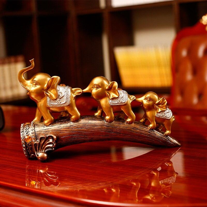 Décoration de la maison éléphant salon liqueur armoire Tv meuble Point artisanat créatif décoration trois éléphants décoration