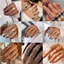 Punk Vintage Gold Farbe Ringe Set Für Frauen Mode Metall Knuckle Finger Ringe Kette Öffnung Ring 2021 Minimalistischen Schmuck