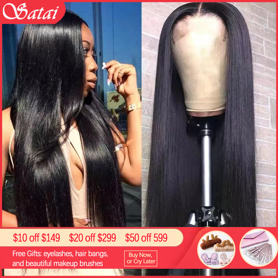 Satai Straight Human Hair Wigs 13x6 Lace Front Wig Brazilian Remy Hair Pre Plucked 150% Density Lace Front Human Hair Wigs