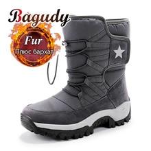 للجنسين الثلوج الأحذية الدافئة دفع منتصف العجل الأحذية مقاوم للماء عدم الانزلاق الشتاء الأحذية الجلدية سميكة منصة أحذية دافئة حجم كبير 35 46