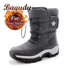 Unisex Snow Boots Warm Push Mid Calf Boots Waterproof Non slip Winter Boots Thick Leather Platform Warm Shoes Large Size 35 46