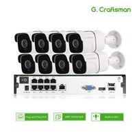 8ch 5MP аудио POE Комплект H.265 система видеонаблюдения безопасности NVR наружная Водонепроницаемая ip-камера наблюдения сигнализация Запись виде...