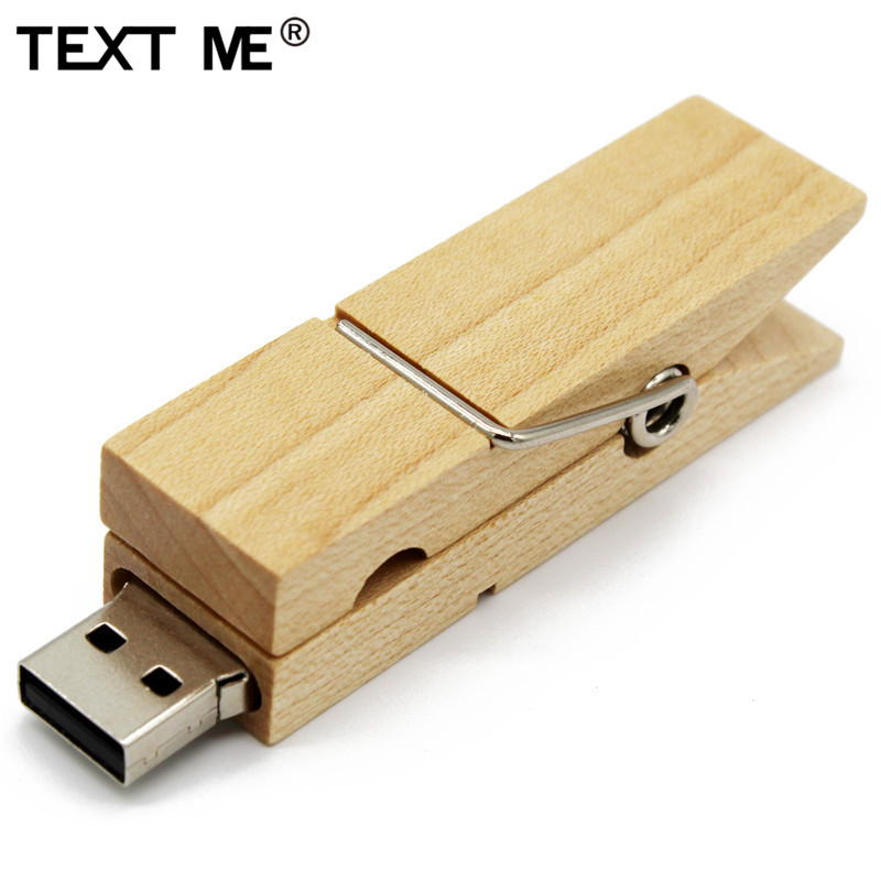 TEXT ME Maple Wood Clip 64GB Usb Flash Drive Pen Drive 4GB 8GB 16GB 32GB Usb2.0 Pendrive Gift U Disk