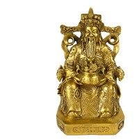 Chinese God of Wealth Buddha Art Sculpture Buddha Statue Wencaishen Figurine Brass Art&Craft Home Feng Shui Decoration R2668