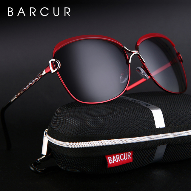 BARCUR Polarized Ladies Sunglasses Women Gradient Lens Round Sun glasses Square Luxury Brand oculos lunette de soleil femme 1