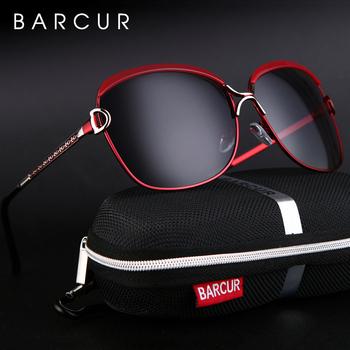 BARCUR spolaryzowane damskie okulary przeciwsłoneczne damskie gradientowe szkła okrągłe okulary kwadratowe luksusowe marki tanie i dobre opinie Kobiety Stop Plac UV400 Lustro Fotochromowe Dla dorosłych BC8702 63mm 59mm