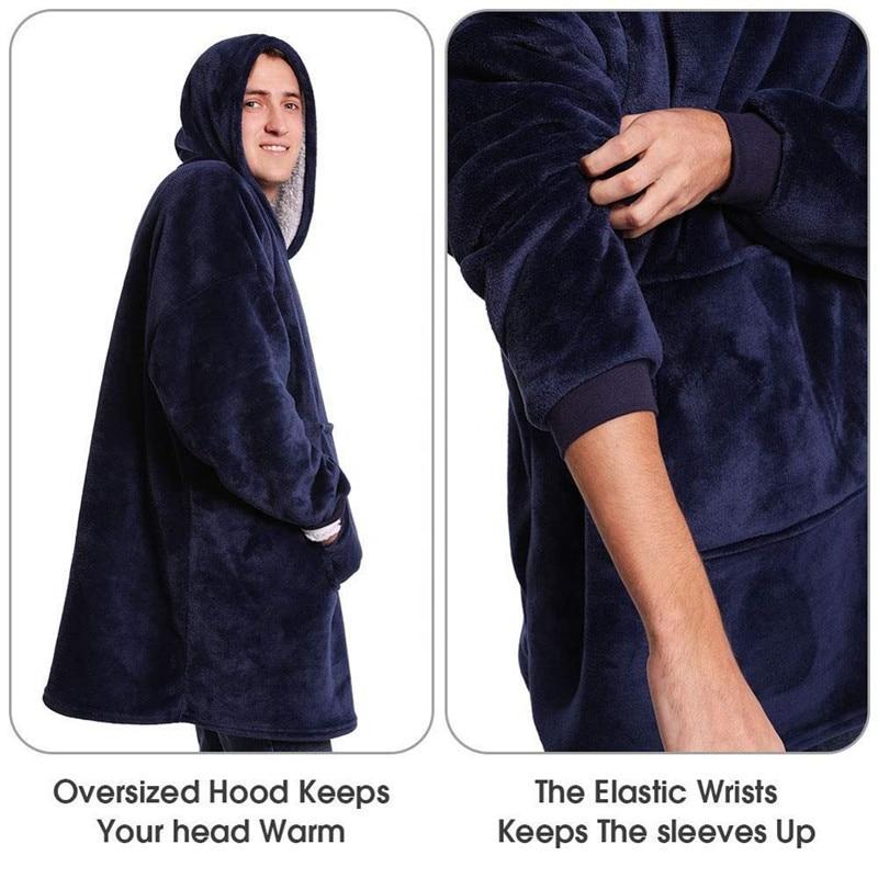 Winter Warm TV Pocket Hooded Blankets Adults Bathrobe Sofa Cozy Blanket Sweatshirt Plush Coral Fleece Blankets Outwears-5