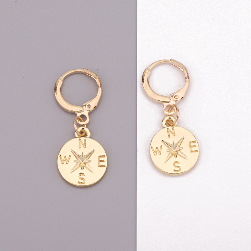 Dayoff 1Pair Korean Creative Compass Hoop Earrings For Women Female Jewelry Unique Simple Small Round Pendant Earrings E234