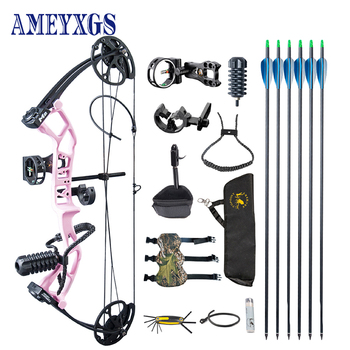 1 Set Archery 30-40lbs Adjustable Draw Weight Compound Bow With 6pc Carbon Arrow Professional Complete Accessories for Hunting topoint archery compound bow package t1 cnc milling bow riser 19 30in draw length 19 70lbs draw weight 320fps ibo