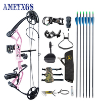 1 Set Archery 30 40lbs Adjustable Draw Weight Compound Bow With 6pc Carbon Arrow Professional Complete Accessories for Hunting