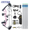 1 Set Archery 30-40lbs Adjustable Draw Weight Compound Bow With 6pc Carbon Arrow Professional Complete Accessories for Hunting