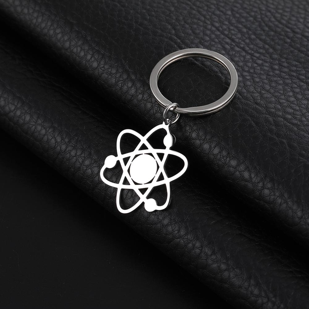 SKYRIM The Bigbang Theory Atom Key Chain Women Men Stainless Steel Physics Chemistry Science Pendant Keyring Holder Jewelry Gift