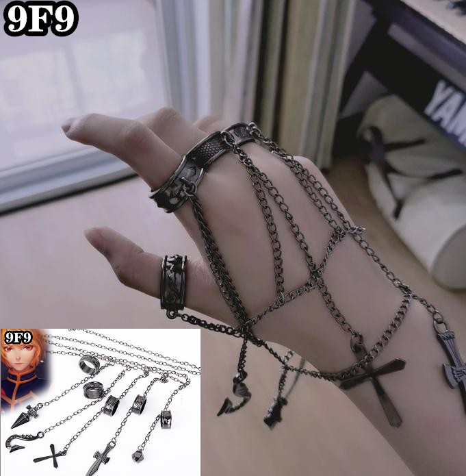 HXH Kurapika Chains Cosplay 5 Finger Ring Bracelet