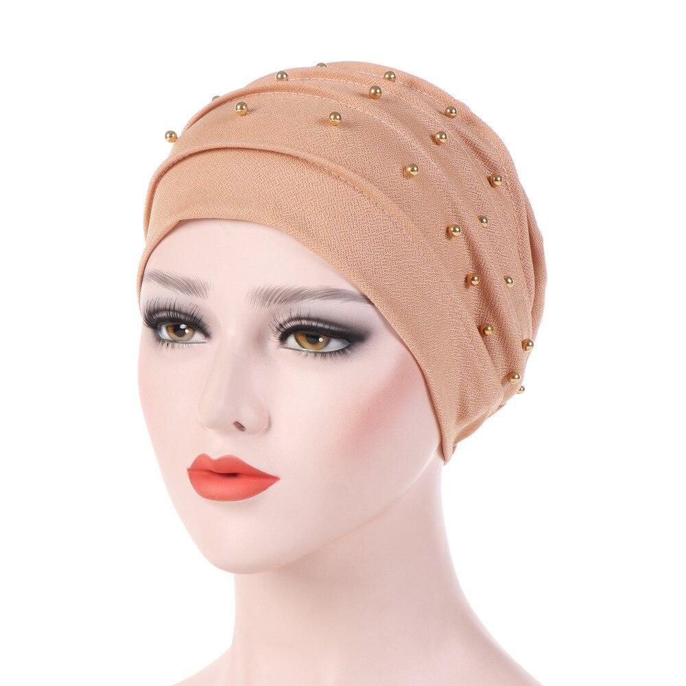 1PC Solid Fashion Women Cotton Beading India Ruffle Turban Elastic Muslim Hat Chemo Cap Headwrap Soft Sleeping Hat Beanie Hijabs