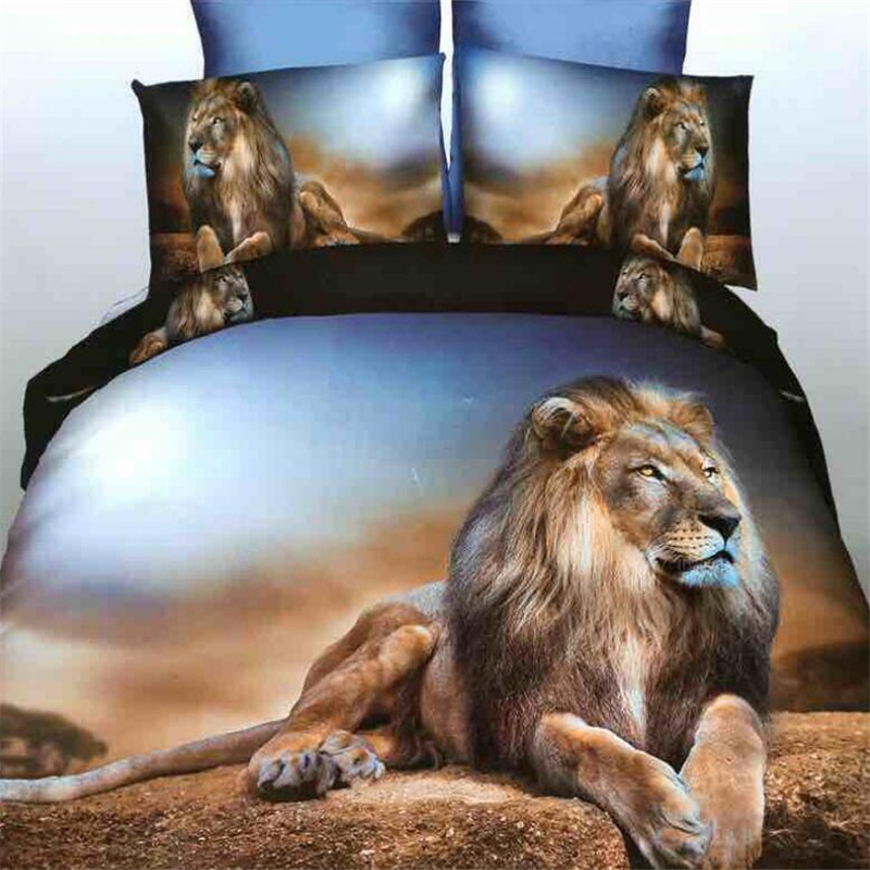 AliExpress Hot Sales Lion Digital Printing Textile 3D Four-piece Set Three-piece Set Bedding Article