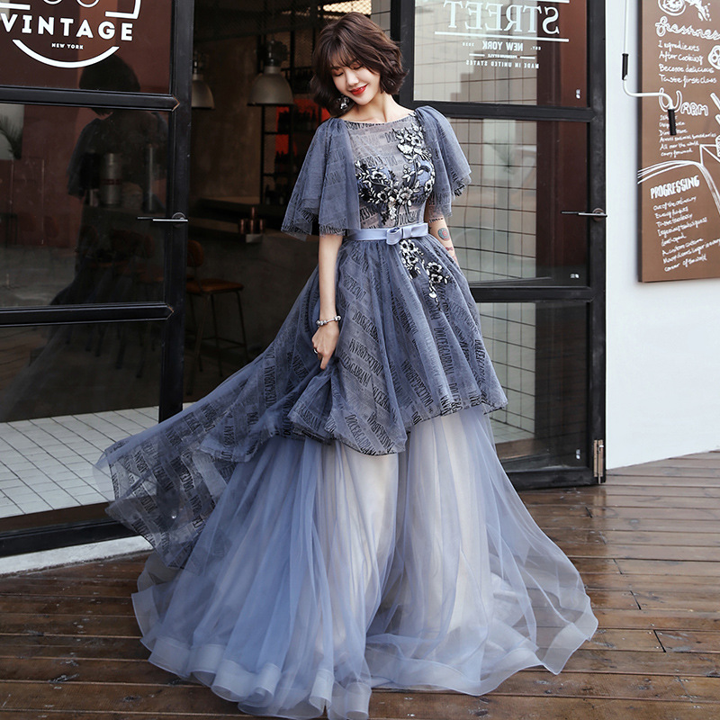 Lady Fairy Evening Dress Temperament Party Dress Gradation Maxi Dress Exquisite Appliques Banquet Dress Dreamy Prom Dress XS-3XL