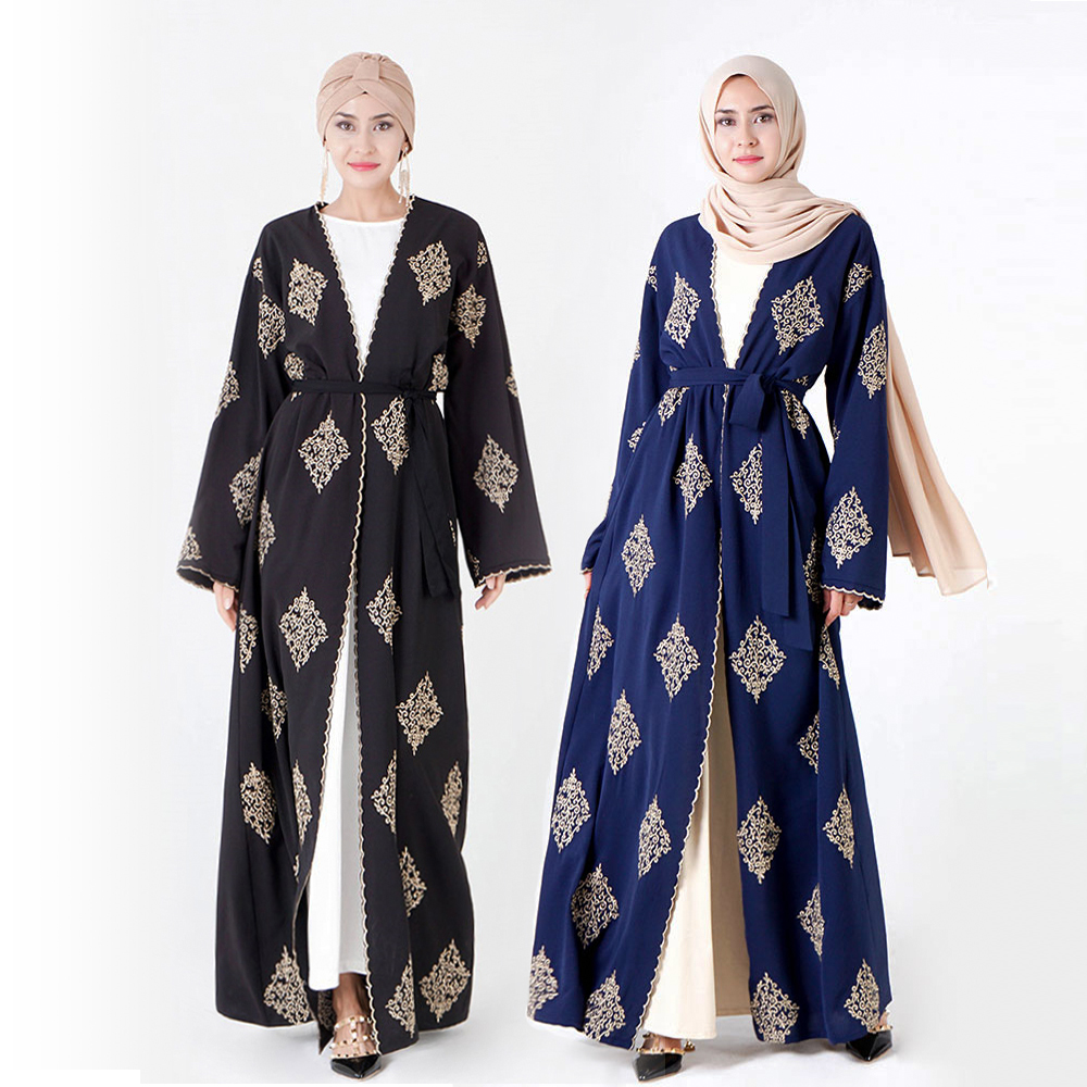Elegant Muslim Embroidery Abaya Dress Vestidos Party Cardigan Kimono Long Robe Gowns Jubah Middle East Eid Ramadan Islamic