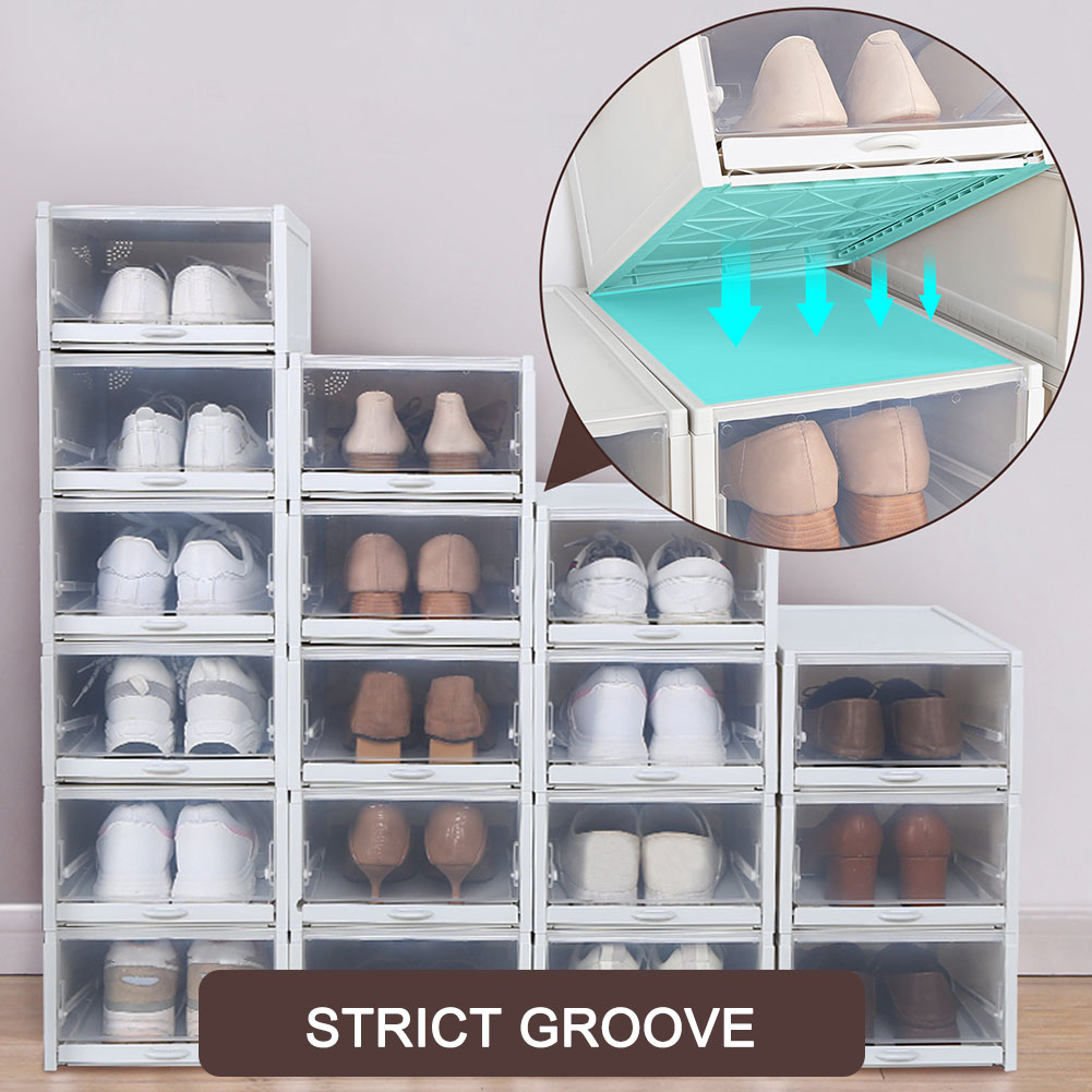 Hot 3 Pack/Set Stackable Storage Shoe Box Clear Plastic Shoes Containers Cases New PLD