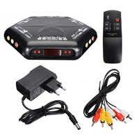 Mayitr-Caja selectora 4 en 1 de salida s-video, videojuego de Audio, RCA, AV, con mando a distancia