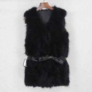 Image 5 - OFTBUY 2020 Winter Jacket Women Black Real Natural Fox Fur Vest Coat New Luxury Female Warm Thick Slim Waistcoat Belt Streetwear