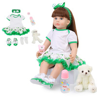 60cm Baby Reborn Dolls Green Clothes Newborn Long Hair Baby Doll lifelike Realistic Silicone Toddler Bonecas Dolls Toys For Kids