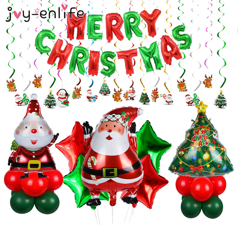 Merry Christmas Balloons Banner Photo Booth Props Party Decoration Hanging Decor