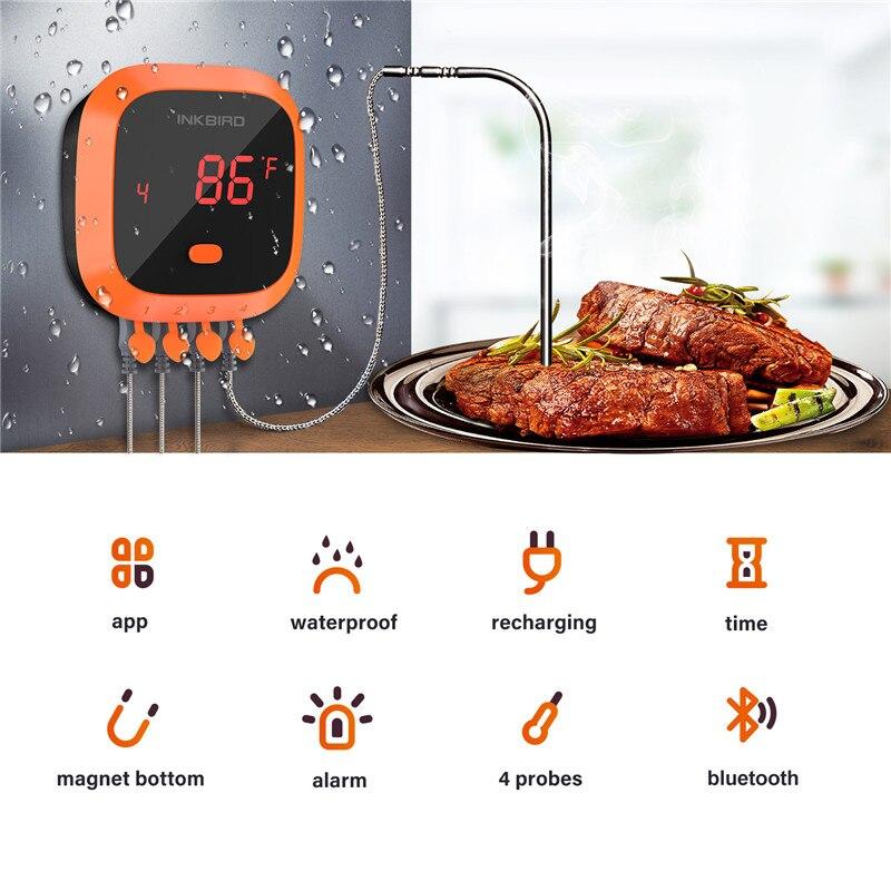 Inkbird IBT 4XC Водонепроницаемый Bluetooth беспроводной дистанционный термометр для барбекю 4 зонда Цифровой термометр для приготовления пищи и мяса - 2