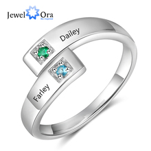 Personalized Women Rings with Birthstone Custom 2 Names Adjustable Engraved Promise for Couples Jewelry(JewelOra RI103934)