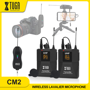 XTUGA Wireless Lavalier Microphone Camera Mic with Mini Rechargeable Receiver for Phones SLR Cameras Interview Live Recording xtuga uhf wireless lavalier lapel microphone system live recording mic with rechargeable transmitter