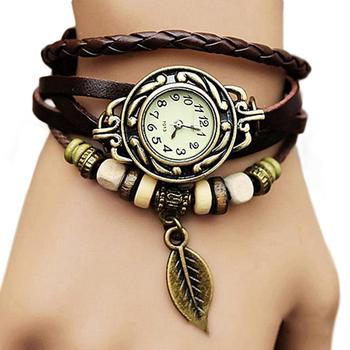 Women Retro Bracelet Watch Fashion Tree Leaf Pendant Faux Leather Multilayer Bracelet Jewelry Decoration Quartz Watchreloj mujer cross layered faux leather bracelet