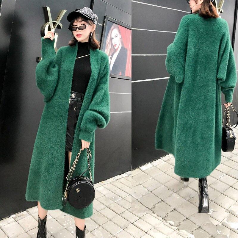 Корейская куртка из искусственного меха норки, свитер, Осень зима, новая Толстая бархатная одежда, женский большой размер, свободный длинны