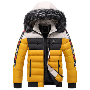Cotton-padded coat men's winter youth hooded coat men's thickened warm cotton-padded jacket windproof color matching 2020 men s cotton clothes printed winter jacket coat youth men s cotton padded coat cold proof warm men s clothing