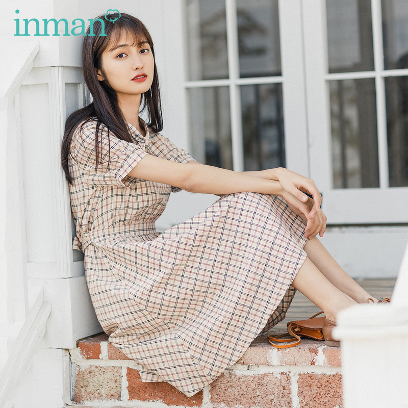 INMAN Summer New Arrival Bow Tie Unique Collar Artsy Vintage Plaid Pattern Shaped Artsy Girl Dresses
