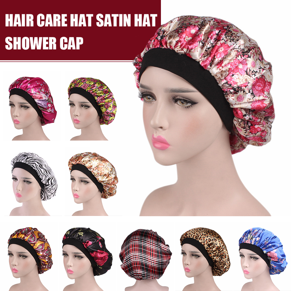 2020 Women Hair Care Hats Satin Flower Bonnet Cap Beanies Silk Caps Head Wrap Ladies Skullies