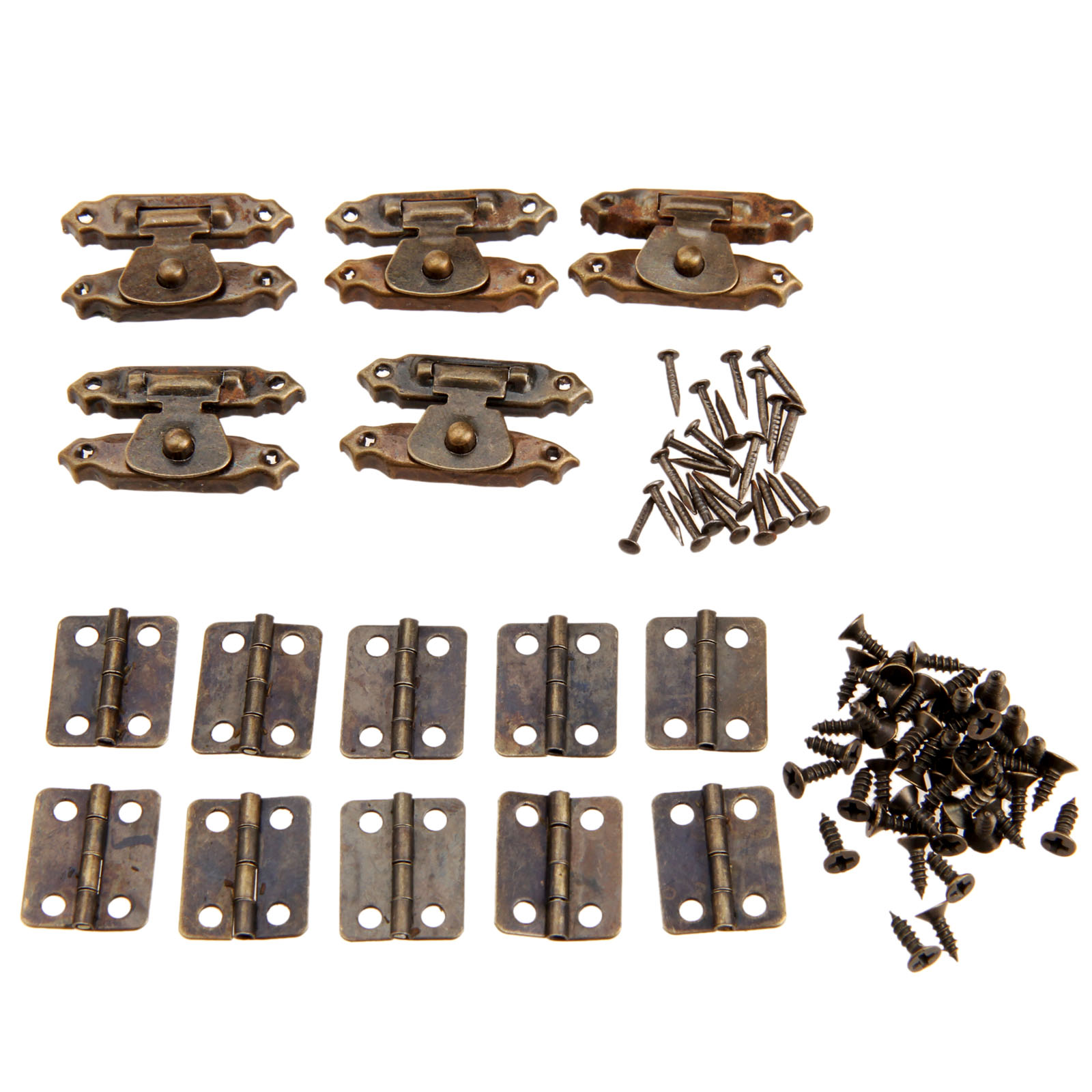 15pcs/set Antique Bronze Round Hinges Iron Decorative Vintage + Latch Hasps Jewelry Box Toggle Lock Furniture Hardware