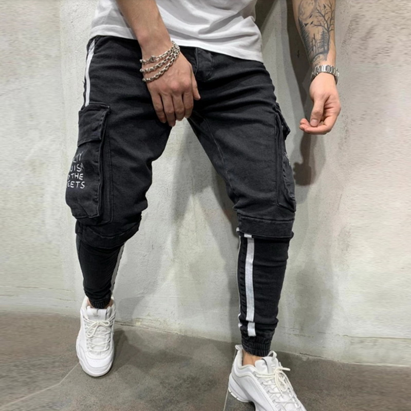 New Fashion Men Jeans Pants Male Printed Letter Jogger Trousers Pocket Slim Denim Pant Striped Zipper Pencil Pants Streetwear