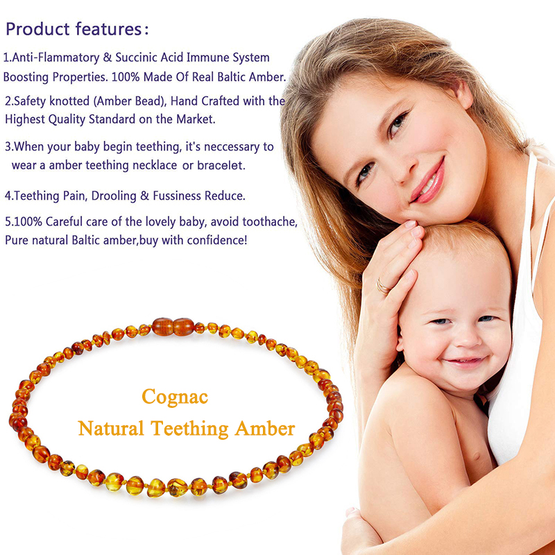 DOREMI Baltic Ambers Teething Necklace for Babies Kids Amber Bracelet - Anti Flammatory,Natural Certificated Oval Baltic Jewelry(China)