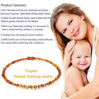 DOREMI Baltic Ambers Teething Necklace for Babies Kids Amber Bracelet - Anti Flammatory,Natural Certificated Oval Baltic Jewelry