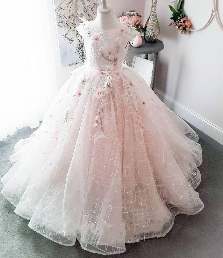 SexeMara Flower Girls Dresses For Wedding Kids Pageant Dress First Holy Communion Dresses For Little Girl Party Prom Dress