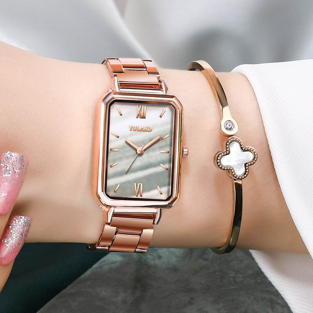 Reloj Mujer Women Rectangle Green Marble Dial Roma Watches YOLAKO Female Rose Gold Stainless Steel Quartz Wrist Watches 3