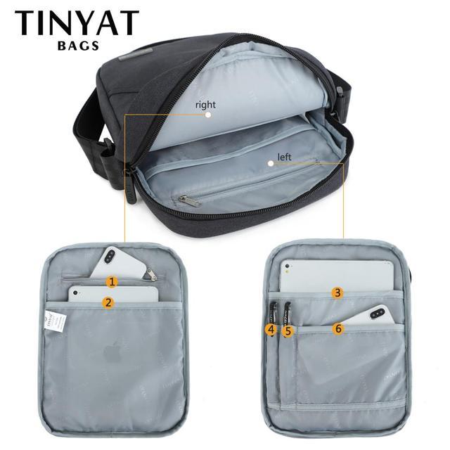 TINYTA Men's bag light Men Shoulder Bag for 9.7'pad 8 pocket Waterproof Casual crossbody bag Black Canvas