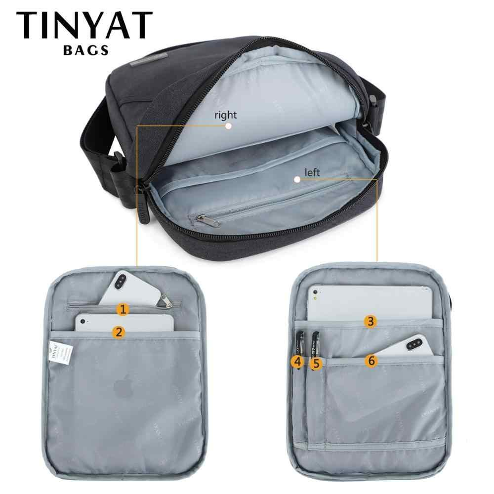 TINYTA bolso de hombro ligero para hombres para 9,7 'pad 8 pocket impermeable Casual crossbody bolsa de lona negra bandolera de hombro