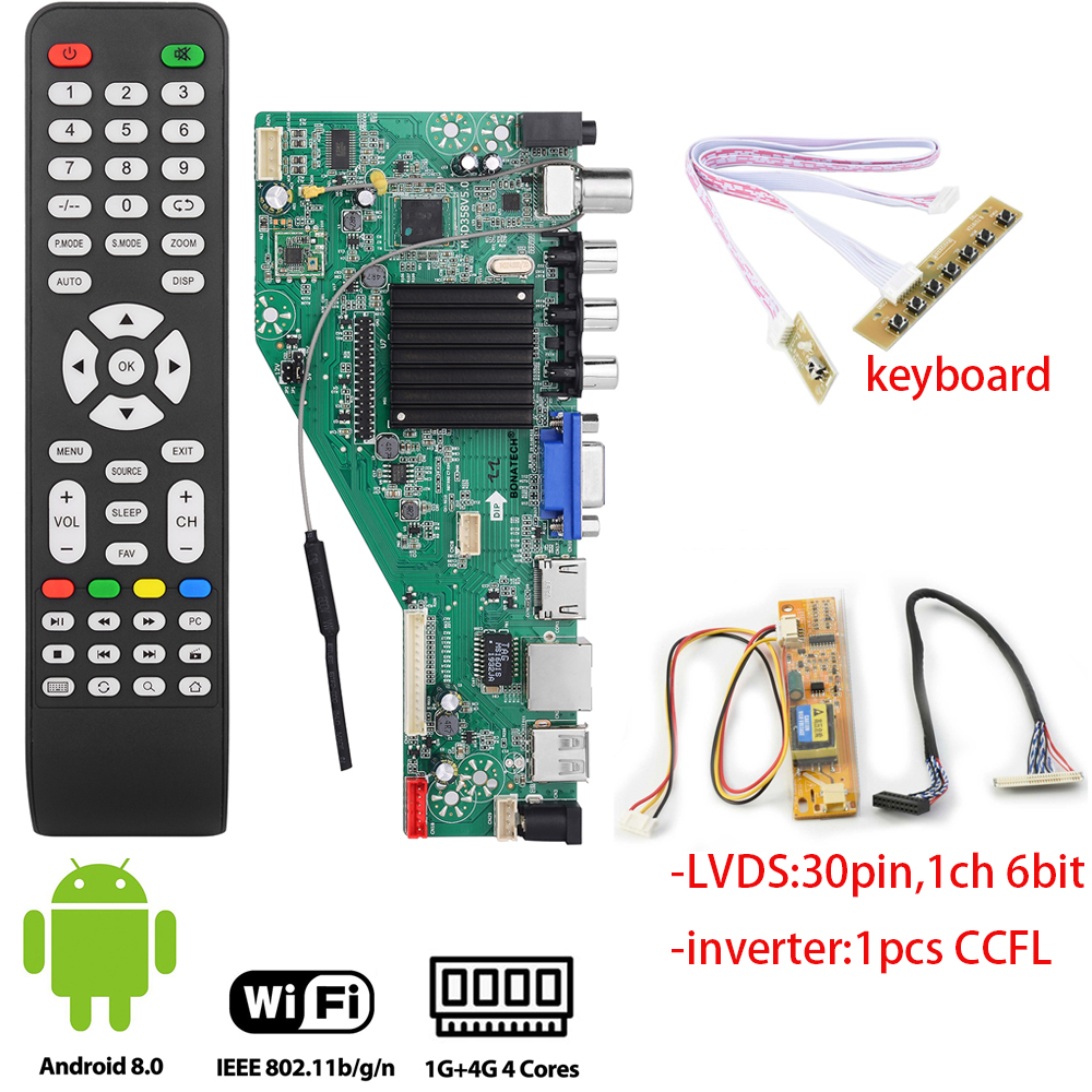 MSD358V5.0 smart <font><b>TV</b></font> driver <font><b>board</b></font> for Android 1G+4G Wireless Network WI-FI <font><b>LCD</b></font> motherboard lvds RJ45/<font><b>HDMI</b></font>/ <font><b>VGA</b></font>/<font><b>AV</b></font>/<font><b>TV</b></font>/<font><b>USB</b></font> 1366x768 image
