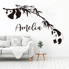 Personalized Name Panda Bamboo Wall Decal Custom Name Asian Animal Bear Jungle Panda Animal Vinyl Wall Sticker A715 asian black bear ursus thibetanus in kohistan pakistan