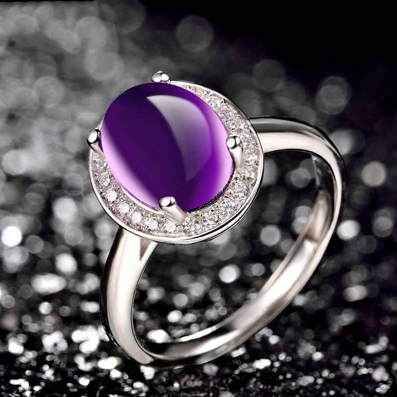 Bague Ringen pur 925 Bague en argent Sterling pour les femmes avec 10*12mm créé violet pierres précieuses anneaux femme bijoux fins pour mariage - 2