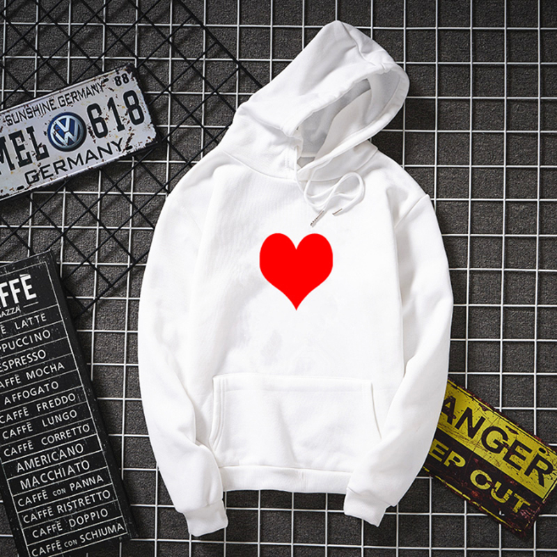 Oversized Love heart print women/man winter new hoodie Harajuku Casual Japan style teen pullover clothes hip hop warm sweatshirt