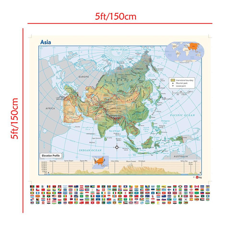 The Asia Map With National Flag Elevation Profile Map Of Asia For Education 150x150cm
