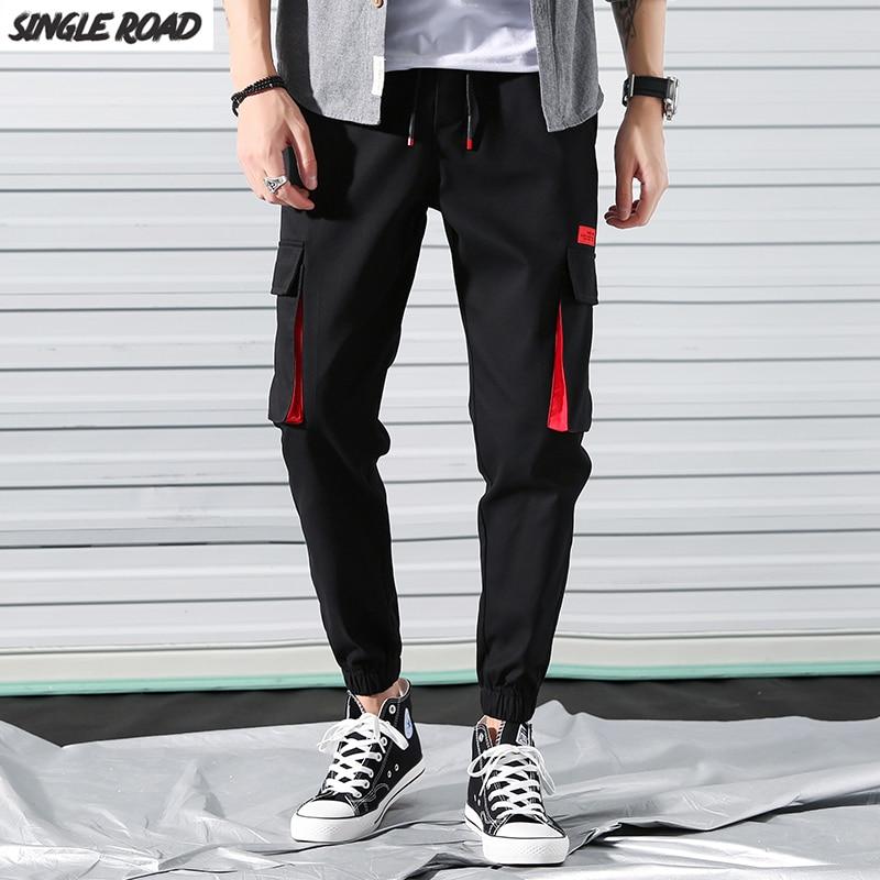 SingleRoad Hip Hop Joggers Men 2019 Fashion Harem Pants Multi-pocket Ribbons Man Sweatpants Streetwear Casual Mens Pants
