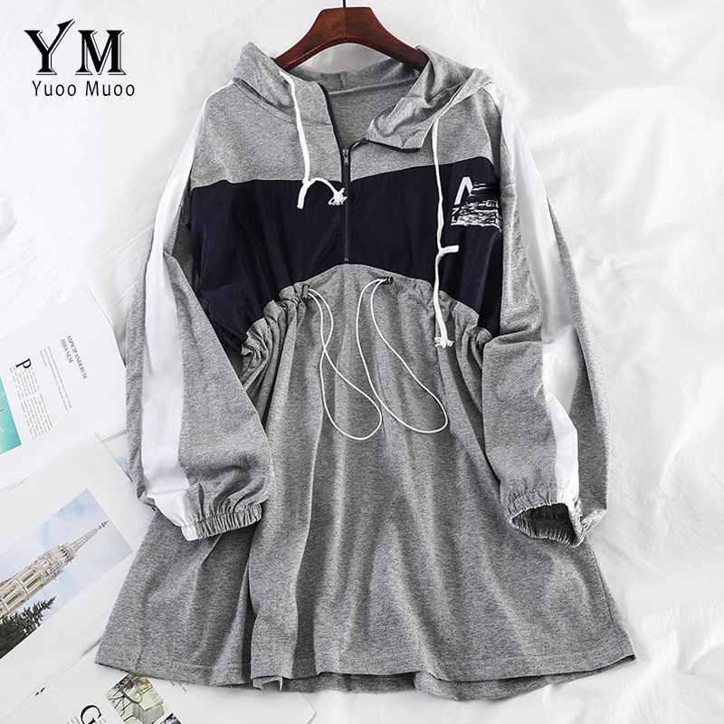 YuooMuoo Chic Ins Hooded Fall Women Dress 2019 Casual Drawstring Mini Dress Boyfriend Girl Sport Dress Letter Print Korean Dress
